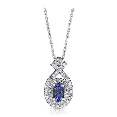 LIMITED QUANTITIES  Genuine Tanzanite and 1/5 CT. T.W. Diamond 14K White Gold Pendant Necklace