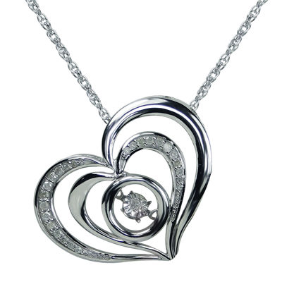 Love in Motion™ 1/10 CT. T.W. Diamond Sterling Silver Heart Pendant Necklace