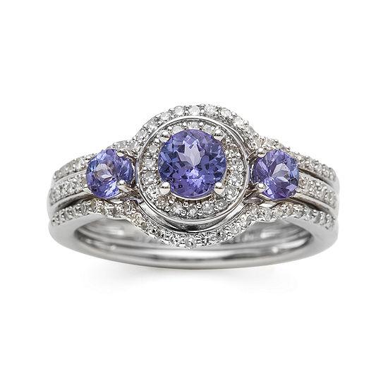 Genuine Tanzanite And Diamond 10k White Gold Ring