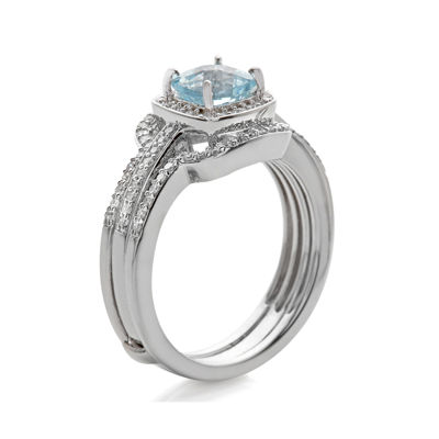 Genuine Aquamarine and 3/8 CT. T.W. Diamond 10K White Gold Ring