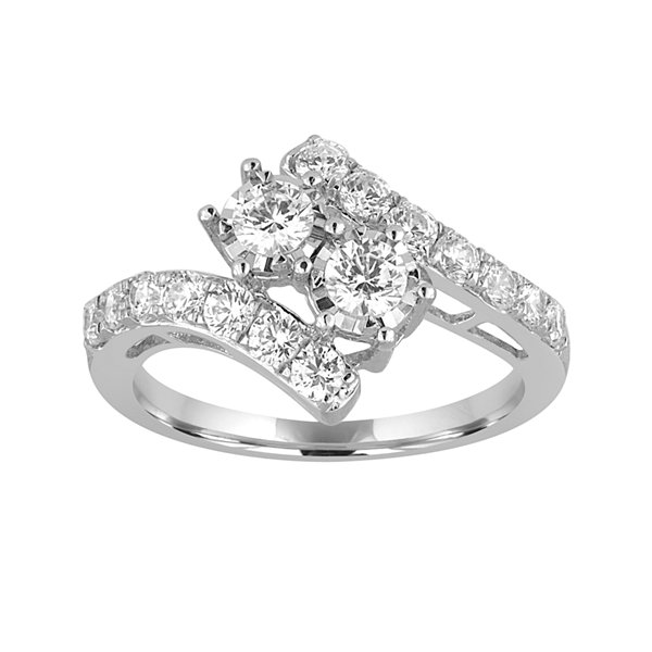 Two Forever™ 1 2 CT T W Diamond Two Stone 10K White Gold Ring