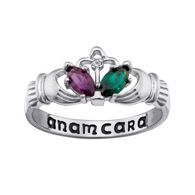 Personalized Anam Cara Claddagh Birthstone Engraved Ring