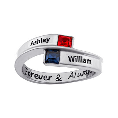 Personalized Bypass Birthstone Engraved Ring
