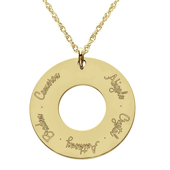Personalized 14K Gold Over Sterling Silver Family Name Pendant Necklace