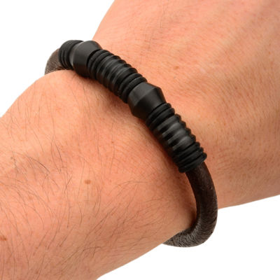 Mens Black Bead Brown Leather Stainless Steel Bracelet