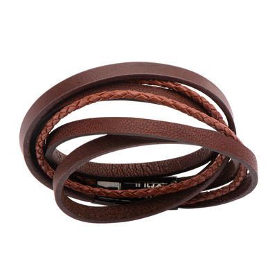 Mens Brown Leather Wrap Bracelet