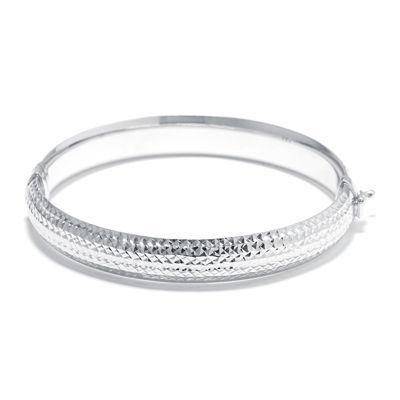 Sterling Silver Diamond Cut Hinged Bangle