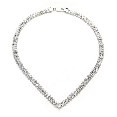 "Sterling Silver V-Shaped 17"" Riccio Necklace"