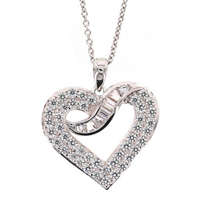 DiamonArt® Sterling Silver Cubic Zirconia Heart Pendant Necklace