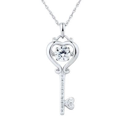 Sterling Silver Dancing Cubic Zirconia Key Pendant