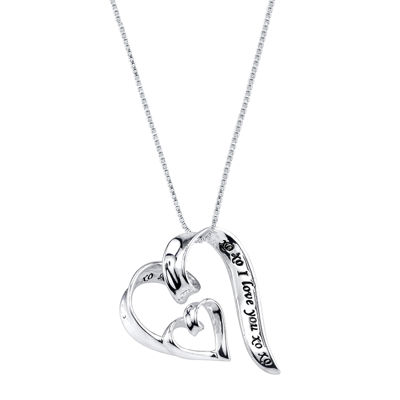 Inspired Moments™ Sterling Silver I Love You Heart Pendant Necklace