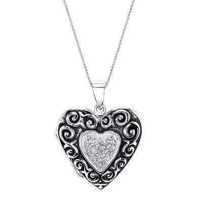 Inspired Moments™ Sterling Silver Heart Locket Pendant Necklace