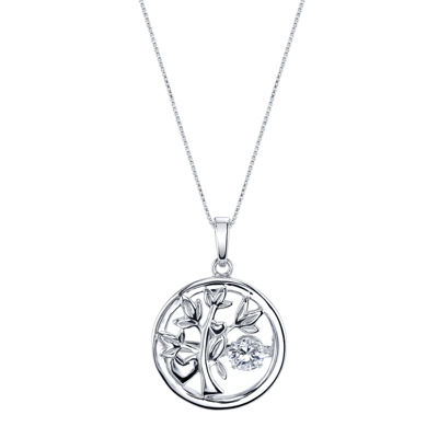 Inspired Moments™ Dancing Cubic Zirconia Sterling Silver Family Tree Pendant Necklace