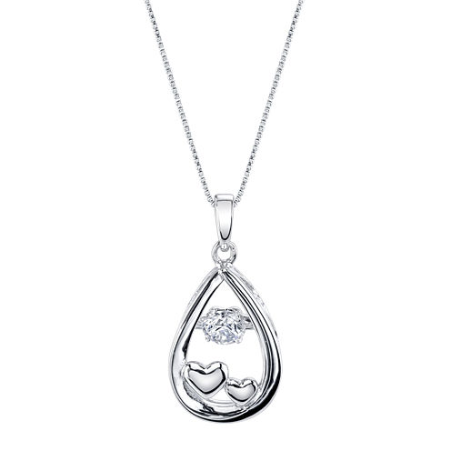 Inspired Moments™ Dancing Cubic Zirconia Sterling Silver Love You To The Moon Pendant Necklace