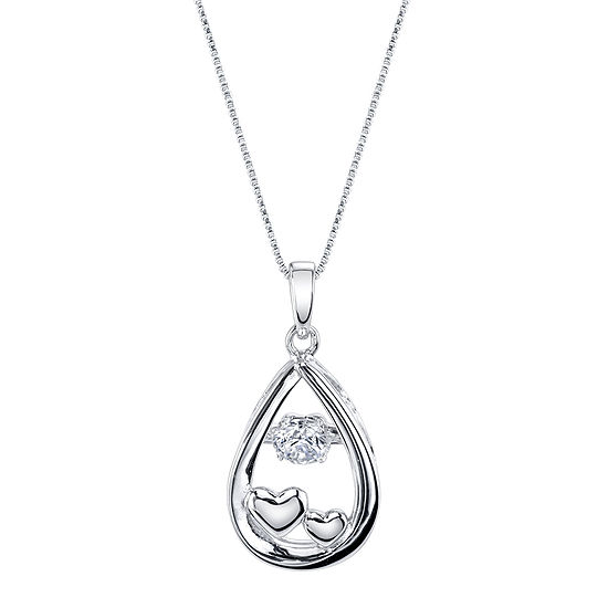 Inspired Moments Dancing Cubic Zirconia Sterling Silver Love You To The Moon Pendant Necklace