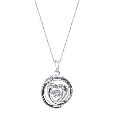 Inspired Moments™ Dancing Cubic Zirconia Sterling Silver Daughter Heart Pendant Necklace