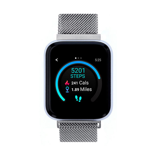 Itouch Air 3 Unisex Adult Silver Tone Stainless Steel Smart Watch-500008s-4-51-B28