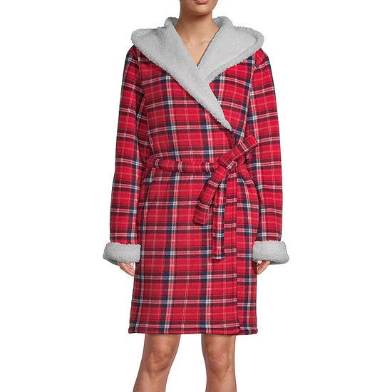 Jaclyn Womens Long Sleeve Short Length Knit Robe