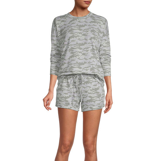 Jaclyn Womens Knit Pajama Top Crew Neck