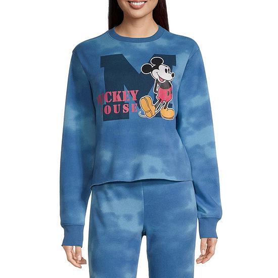 Mighty Fine Juniors Womens Crew Neck Long Sleeve Mickey Mouse Sweatshirt