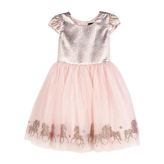 Lilt Little & Big Girls Short Sleeve Cap Sleeve Party Dress