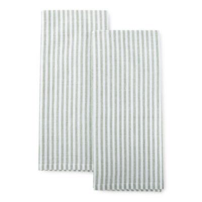 Farmer's Market Sage Stripe 2-pc. Kitchen Towel Set