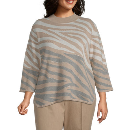 Alfred Dunner-Plus Glacier Lake Womens Mock Neck 3/4 Sleeve Animal Pullover Sweater, 3x , Gray