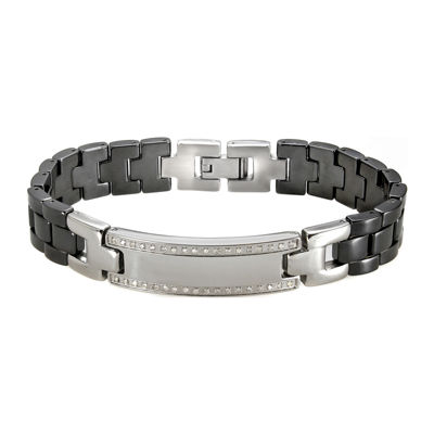 Mens Black Ceramic & Stainless Steel Diamond Bracelet