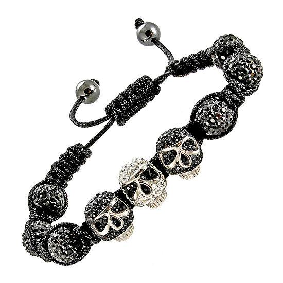 Mens Crystal Skulls Beads Hematite Bracelet