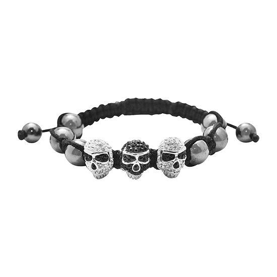 Mens Crystal Skulls & Hematite Bracelet