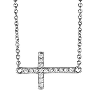 1/10 CT. T.W. Diamond Sterling Silver Mini Sideways Cross Pendant