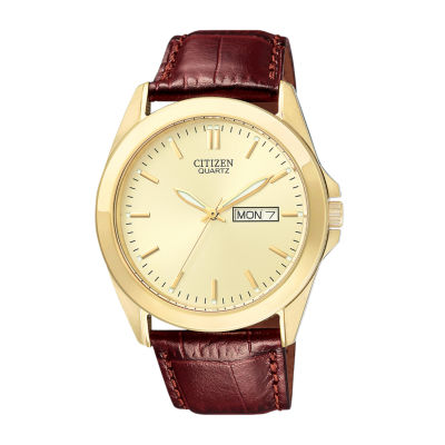 Citizen® Mens Champagne Dial Brown Leather Strap Watch BF0582-01P