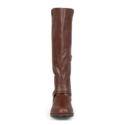 Journee Collection Kai Ankle-Strap Riding Boots - Wide Calf