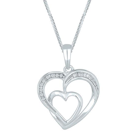 1/10 CT. T.W. Diamond 10K White Gold Double-Heart Pendant Necklace