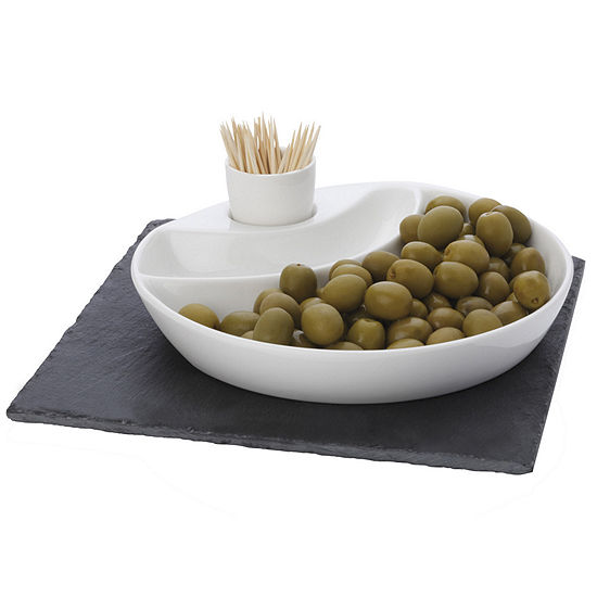 Maxwell and Williams™ White Basics Slate 3-pc. Olive Serving Set