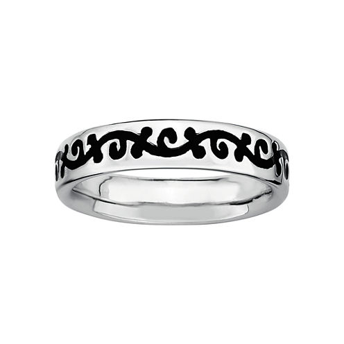 Personally Stackable Sterling Silver Black Enamel Vine Ring