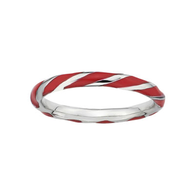 Personally Stackable Sterling Silver Red Enamel Twist Ring