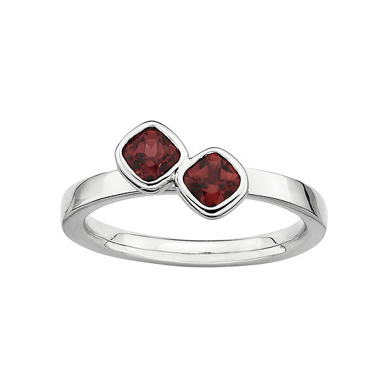 Personally Stackable Sterling Silver Garnet Ring