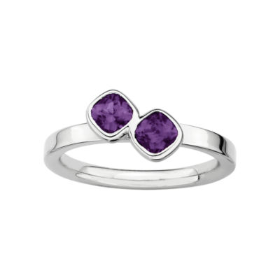 Personally Stackable Sterling Silver Genuine Amethyst Ring