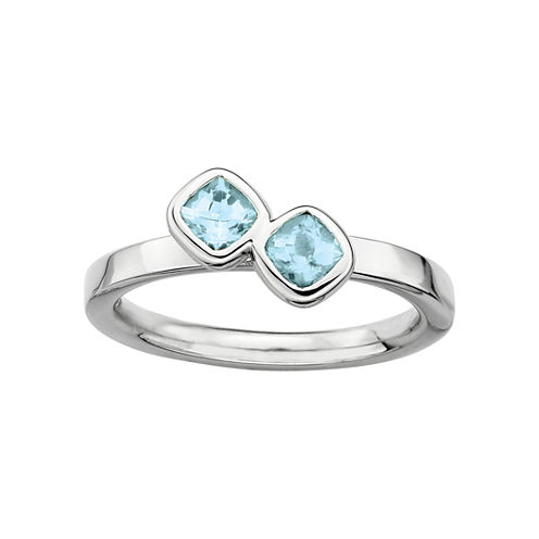 Personally Stackable Sterling Silver Genuine Aquamarine Ring