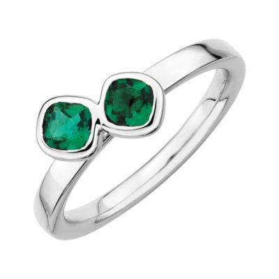 Personally Stackable Sterling Silver Lab-Created Emerald Ring