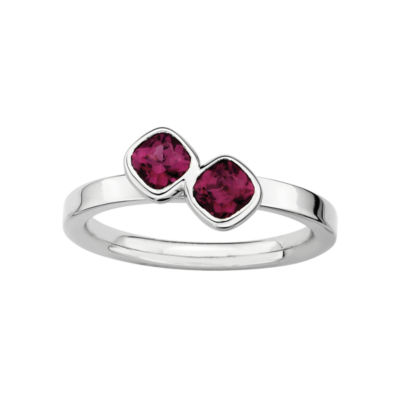 Personally Stackable Sterling Silver Genuine Garnet Cushion-Cut Ring