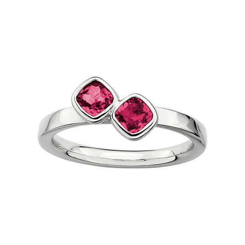 Personally Stackable Sterling Silver Lab-Created Ruby Ring