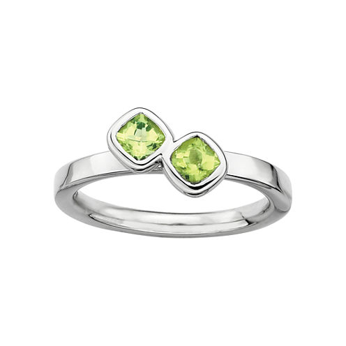 Personally Stackable Sterling Silver Genuine Peridot Ring
