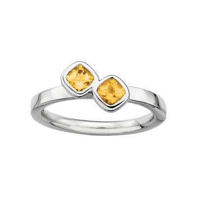 Personally Stackable Sterling Silver Genuine Citrine Ring