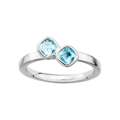 Personally Stackable Sterling Silver Genuine Blue Topaz Ring