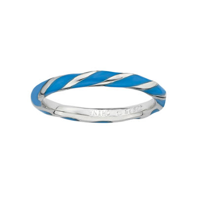 Personally Stackable Sterling Silver Blue Enamel Twist Ring