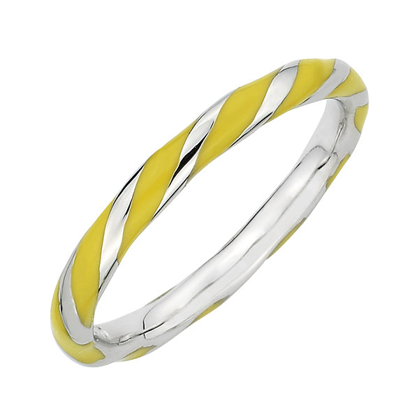Personally Stackable Sterling Silver Yellow Enamel Twist Ring
