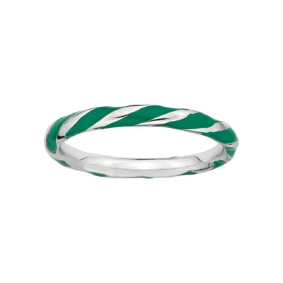 Personally Stackable Sterling Silver Green Enamel Twist Ring