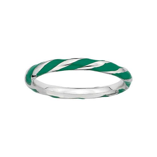 Personally Stackable Sterling Silver Green Enamel Twist Ring